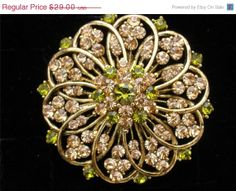 Big Sale Vintage Yellow Green Rhinestone by TheJewelryLadysStore, $23.20