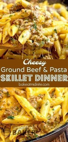 Dinner Recipes with ground beef Great for using any leftover pasta! Simple and inexpensive cheesy ground beef sk. Great for using any leftover pasta! Simple and inexpensive cheesy ground beef skillet dinner that's nice enough for company Ground Beef Recipes For Dinner, Dinner With Ground Beef, Ground Beef Recipes Skillet, Ground Hamburger Recipes, Easy Pasta Dinner Recipes, Good Recipes For Dinner, Pasta Recipes Hamburger, Recipes With Ground Beef And Pasta, Good Ground Beef Recipes