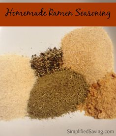 Homemade Ramen Seasoning Recipe Homemade Ramen Seasoning 2 T Poultry Seasoning 2 T Garlic Powder 2 T Onion Powder 2 chicken-flavored bouillon cubes 1 tsp black pepper {We're not big fans of pepper, so feel free to add more if you think it needs more. Ramen Recipes, Dog Food Recipes, Cooking Recipes, Recipies, Smoker Recipes, Rib Recipes, Homemade Ramen Noodle Recipes, Korean Recipes, Jamaican Recipes