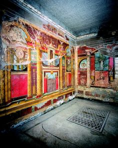 Pompeii -- Roman Wall Frescoes -- Excavated from 'The Villa of Mysteries' at… Ancient Pompeii, Pompeii Ruins, Pompeii Italy, Pompeii And Herculaneum, Ancient Ruins, Ancient History, European History, Ancient Artifacts, American History