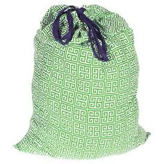 """Organic cotton laundry bag with a green Greek key motif.   Product: Laundry bagConstruction Material: Organic cottonColor: Green, white and navy Features:   Sturdy drawstring closure  Coordinating lining  Dimensions: 36"""" H x 25"""" W    Cleaning and Care: Machine wash cold. Tumble dry low."""