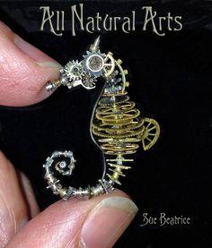 Steampunk clockwork seahorse by Sue Beatrice (!!)