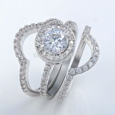 2Ct Silver Plated Triple Wedding Ring Set Engagement Band AAA CZ Classic Jewelry Gift Free Shipping From US