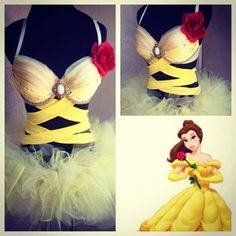 "Belle from ""Beauty and Beast"" inspired custom EL - http://www.howtoedc.com/best-custom-edc-outfits-for-girls/"