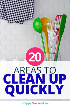 Declutter and organize your home quickly with this quick wins free checklist. Declutter 20 areas in 20 minutes or less. The motivation you need to keep going!