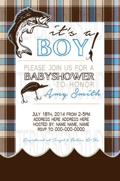 fishing baby shower invitation printable by