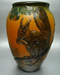 Denmark Vase squirrel Ipsens Enke Copenhagen Antique Danish Tall 7 Inches