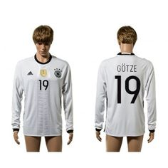 Tyskland 2016 #Gotze 19 Hjemmebanetrøje Lange ærmer,245,14KR,shirtshopservice@gmail.com