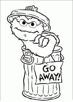 "Coloring page of Oscar the Grouch and ""I love Trash"" sign ..."
