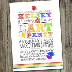 Art Painting Rainbow PRINTABLE Birthday Party Invitation