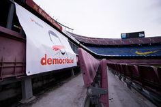 A banner with the word 'Democracia', Catalan for 'Democracy', is seen in the stands of the stadium after the La Liga match between Barcelona and Las Palmas at Camp Nou on October 1, 2017 in Barcelona, Spain. The match has been played with empty stands after the events occured in Catalonia during the voting of a Catalonia independence referendum declared illegal and undemocratic by the Spanish government.