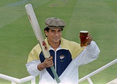 1992: Sachin Tendulkar poses with a pint and a cloth cap after being chosen as the first non-Yorkshireman to play for the county.