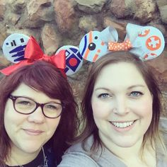 R2D2 and BB8 mouse ears at Disneyland!
