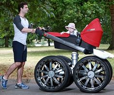 The Manliest Stroller Ever Made, Stop losing man points every time you spend quality time with your baby – now with the manliest stroller ever made, you can be an involved father who will still look like a testosterone oozing man-beast that could conquer entire continents if he so desired.