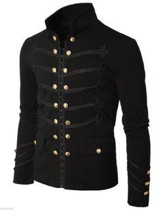 Men-Black-Embroidery-Military-Napoleon-Hook-Jacket-100-Cotton