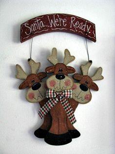 Santa were readysign wall decor door decoration by loisling, $18.00.  reindeer woodcraft for Christmas
