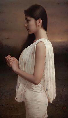 """""""Quiet Space"""" - Wang Longjun 王龙军 (Chinese, b. 1980) oil on canvas, 2013 {contemporary realism figurative art beautiful female profile asian woman cropped painting #2good2btrue}"""