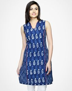 Cotton Printed Panelled Mini Kurta