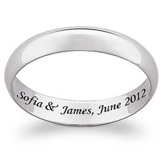 10K White Gold Inside Engraved Message Band