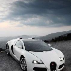 Angel White Bugatti Veyron up in the mountains!