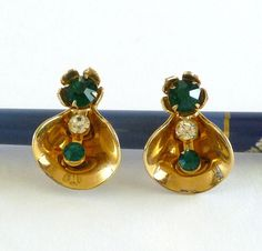 Vintage Rolled Gold Tone Earrings with by MaisonChantalMichael, $24.00