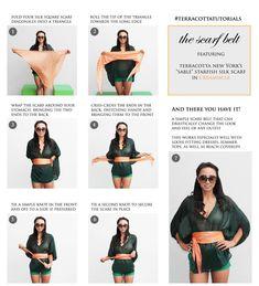 Ways To Wear A Scarf, How To Wear Scarves, Head Scarf Styles, Scarf Tutorial, Scarf Belt, Diy Fashion, Fashion Tips, Fashion Bible, Clothing Hacks