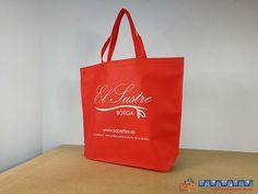 f3ad5d35d Envase de tela ecológica en color rojo con impresión en blanco, en tamaño  grande y