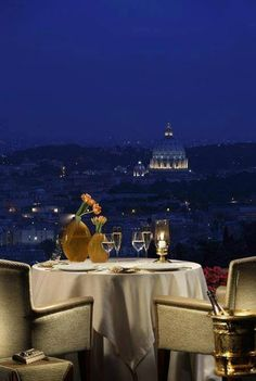 La Pergola is the only Michelin three-star restaurant in Rome. Located inside the Rome Cavalieri Hotel (for decades the Cavalieri Hilton), high on the. Romantic Places, Beautiful Places, Amazing Places, Amazing Hotels, Romantic Destinations, Beautiful Hotels, Romantic Getaways, Amalfi, Places Around The World