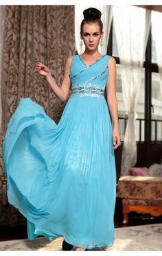 Affordable A-line Ankle-length Straps Blue Chiffon Dress