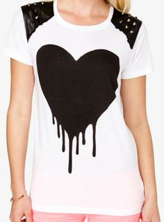 Forever 21 Spiked Heart Graphic Tee in White (WHITE/BLACK) | Lyst