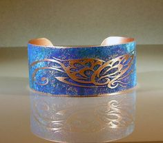 Butterfly Handmade Etched Copper Cuff Bracelet Butterfly 1015 Size Medium / Large Ready to Ship