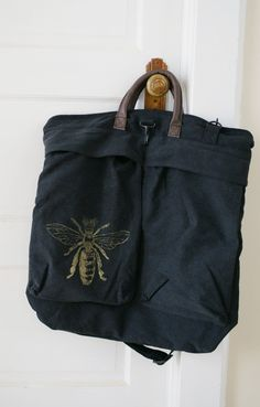 Golden Queen Bee Black Weekender Bag by meatbagz on Etsy, $48.00