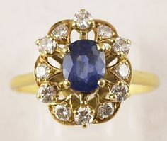 Vintage Sapphire Diamond Gold Ring French Yellow Gold Blue Natural Stone Engagement Ring Size (UK), (US) gift for her Diamond Cluster Ring, Gold Diamond Rings, Sapphire Diamond, Gold Rings, Sapphire Rings, Engagement Ring Sizes, Sapphire Jewelry, Gifts For Her, Brooch