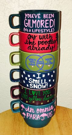 Stackable Gilmore Girls Mugs- with storage rack- 6 mugs per set- Rory and…