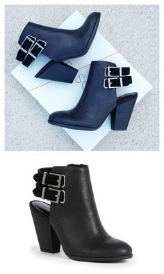 Genuine leather black bootie with a stacked heel and suede buckled slingback straps