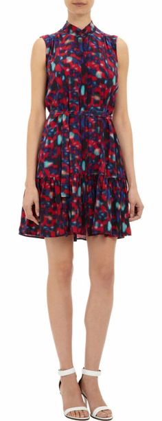 Saloni Abstract-print Sleeveless Drop-waist Tilly Dress