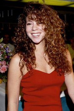 Red Dress. Curly Hair.
