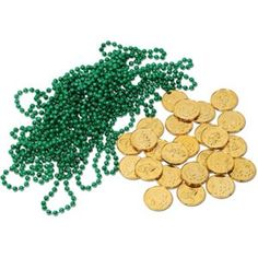 Leprechaun Loot 12 green party beads and 25 Lucky Leprechaun gold plastic coins to decorate for this coming St Patrick's day! www.teelieturner.com #StPatricksDay