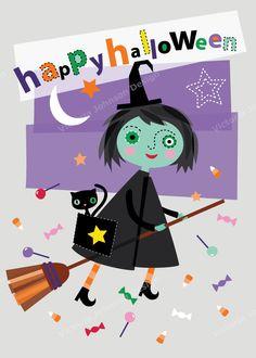 halloween witch broom design illustration print greetings card victoriajohnsondesign.com