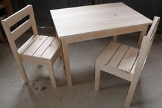 we have two sets (this pin is just an example) one lower with shorty chars for a very young waddler/toddler, and other higher but still for a 3 to 5 yr. old, and curved chairs that happen to match our dining room chairs that were from my mom.