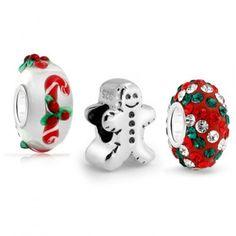 Gingerbread Man Cookie Christmas Candy Cane Bead Set Fits Pandora
