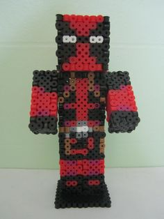 Deadpool Minecraft Skin 3D_Perler Beads