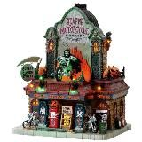 Lemax Reaper Motorcycle Co. SKU# 75174.  Released in 2018 as a Spooky Town Lighted Building.