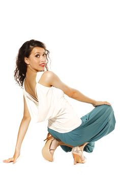 Billowing and knee-length and thus feminine and elegant: Salsa and Tango trousers 'Capri', in fresh turquoise. Dance top 'Amalfi' with a sinfully deep backline, plunging waterfall neckline, and refined pleating. Perfect for tango and salsa. #Tangofashion, #TangoBerlin, #Tangoshoes