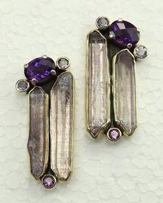 post earring, amethyst earring, aura