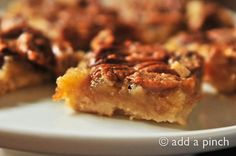 Pin It     Oh boy, do I have a treat to share with you! These Pecan Pie Bars are absolutely scrumptious and something I think youll want to make soon! The shortbread crust topped with pecan pie makes an impressive addition to any holiday table or for entertaining. Even my pecan-pie-hatin