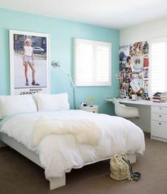 Bedroom: Calming Blue Paint Colors For Small Teen Bedroom Ideas With Modern Study Table Ideas, Pink Bedroom Colors, Purple Bedroom Designs - Home Decor Teen Room Colors, Girls Bedroom Colors, Bedroom Paint Colors, Bedroom Color Schemes, Girl Bedrooms, Wall Colors, Blue Bedroom Ideas For Girls, Small Room Bedroom, Dream Bedroom