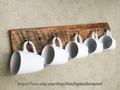 Coffee Cup Display Wooden Mug Rack Holder Kitchen Wall Decor Hanging Wood