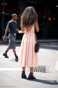 Pink dress. Hair. Shoes, bag.