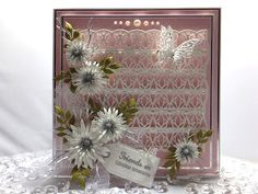 Friends Are Lifetime Treasures Tina Eldridge has made this beautiful card, featuring the Indus die set from the Mini Gemini Collec. Sue Wilson Dies, Heartfelt Creations Cards, Flower Cards, Drake, Christmas Cards, Merry Christmas, Ladder Decor, Decorative Boxes, Card Making